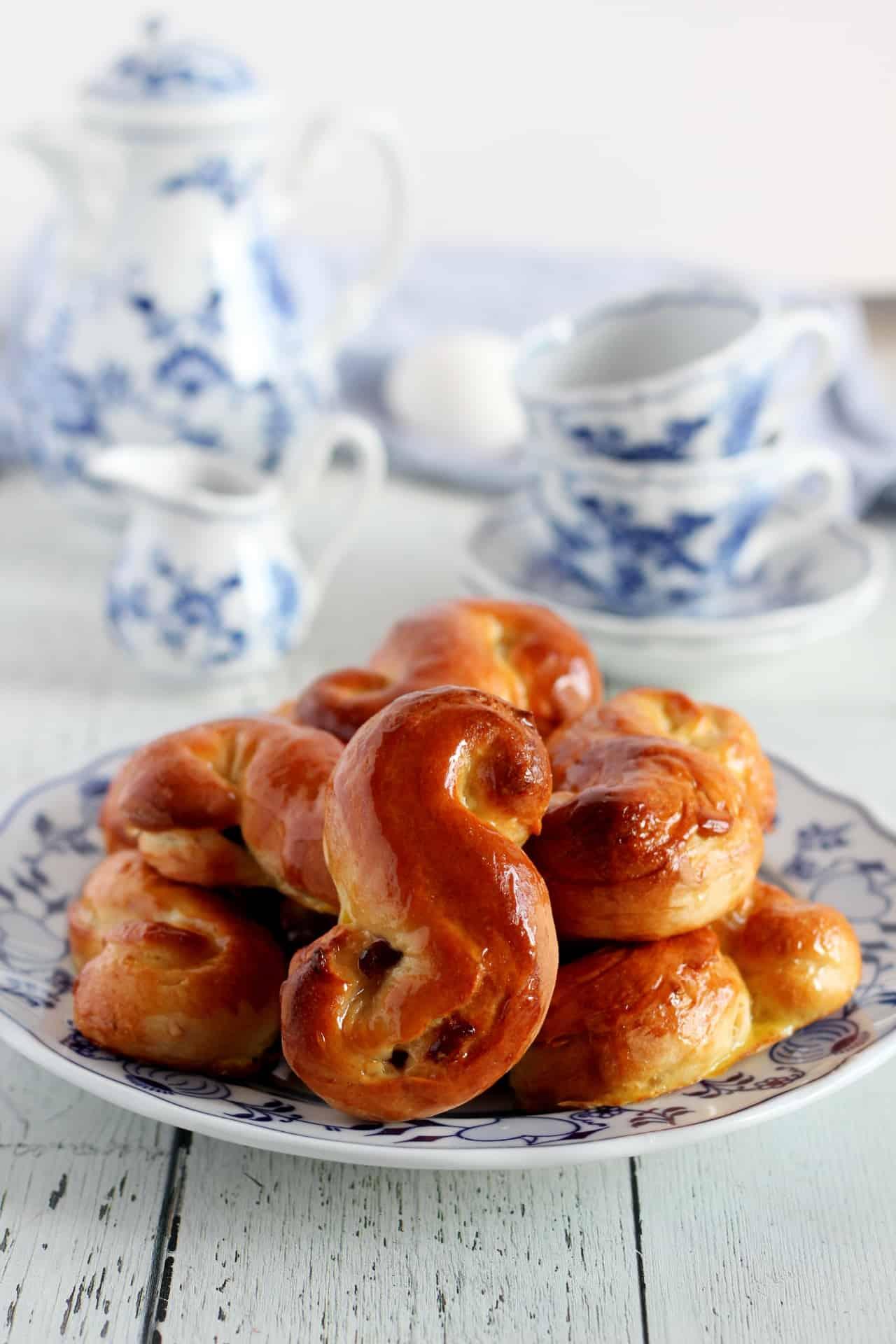 easter sweet brioche bun on plate