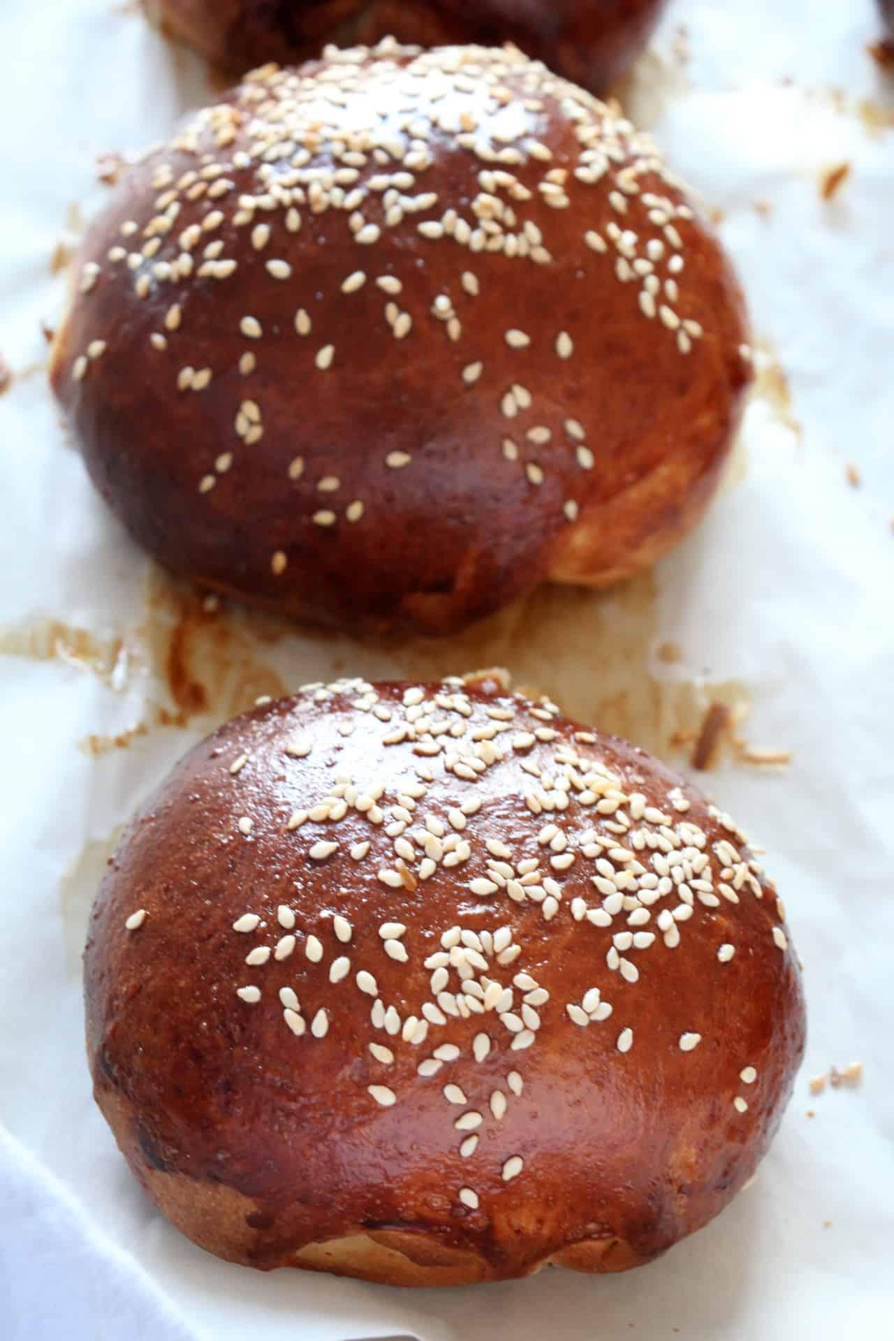 burger buns close up