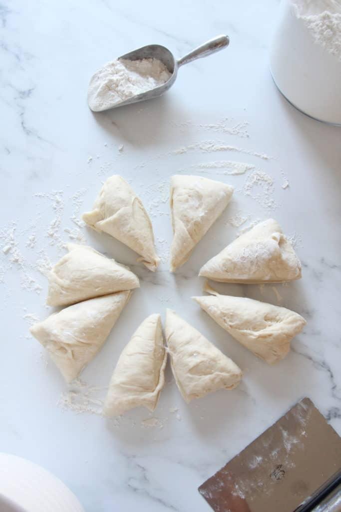 dough cut in 8 pieces