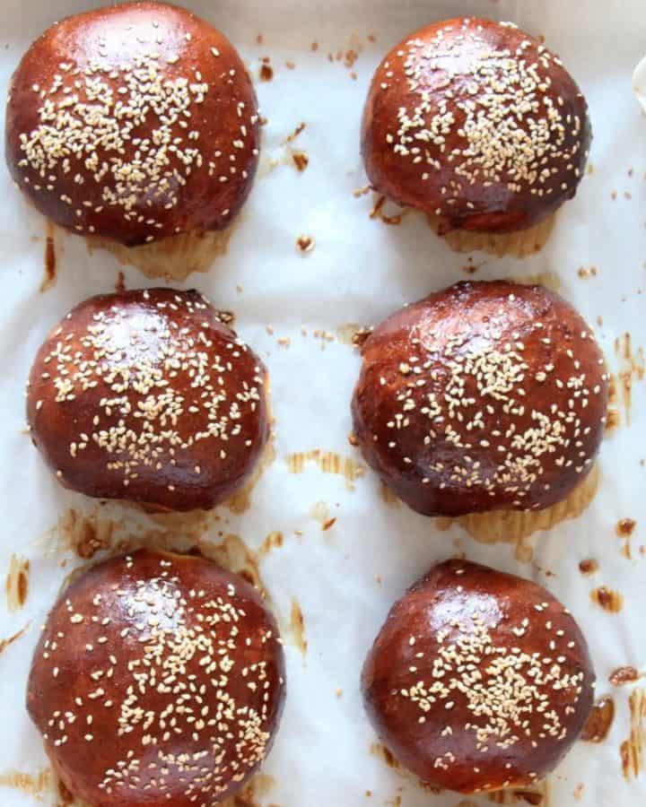 burger buns with sesame seeds